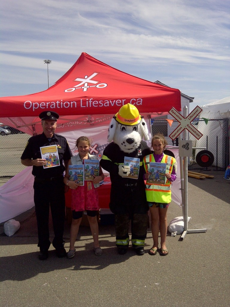 Sparky the Fire Dog joins Railway Safety at Thomas the Train Event in Saint John, NB, August, 2013.