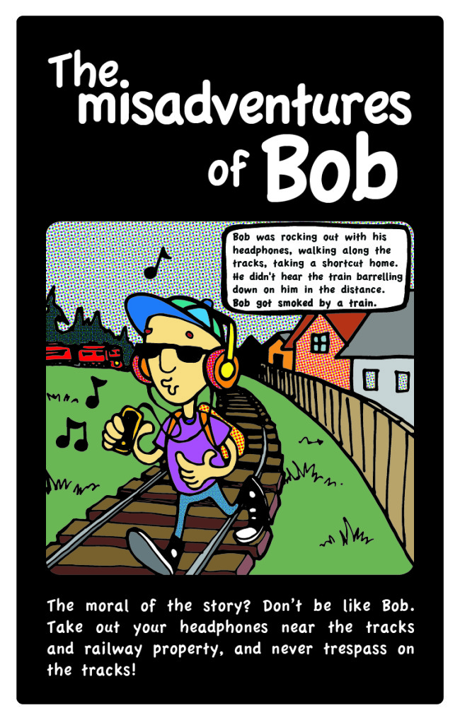 BOB: Headphones and train tracks don't mix