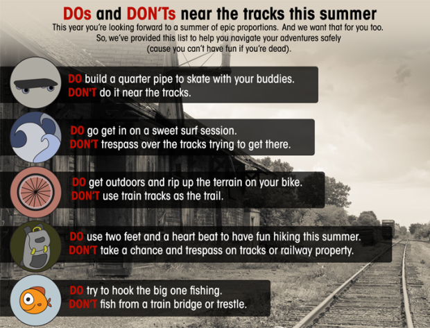 Summer rail safety DOs and DON'Ts