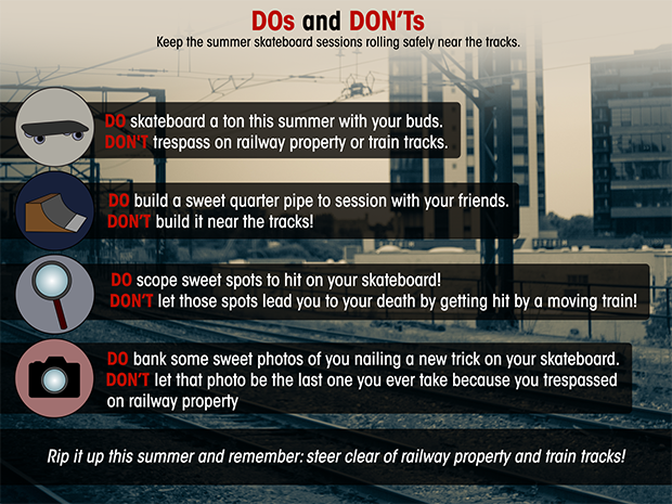 Rail safety dos and don'ts for skateboarders
