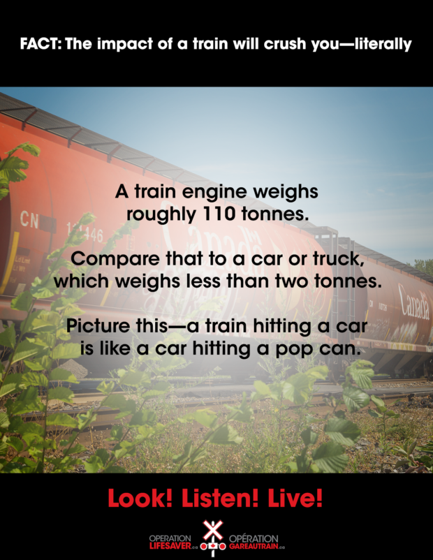 The impact of a train will crush you—literally