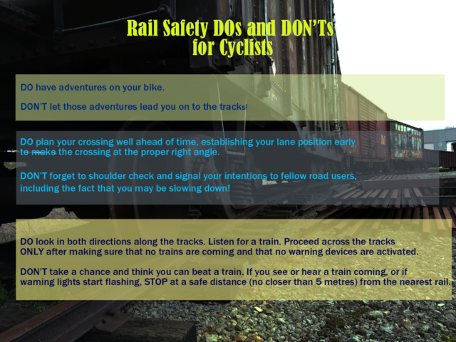 Rail safety dos and don'ts for cyclists