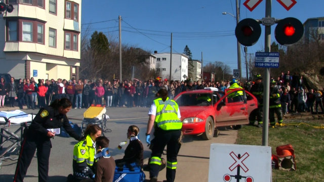 Mock collision crowd Saint John NB