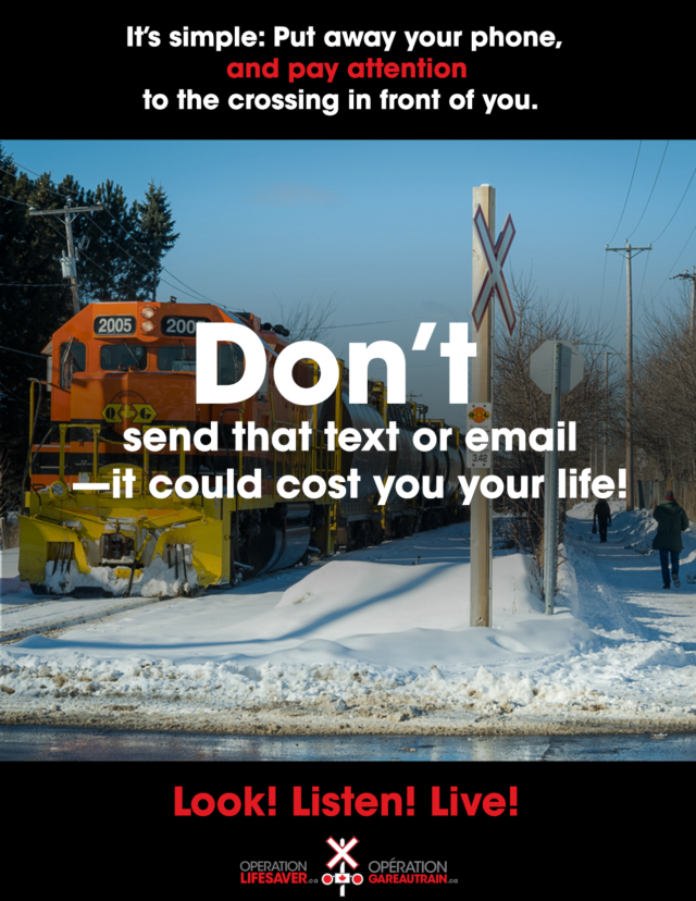 Rail safety don't text and drive